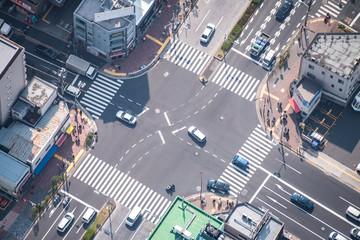 Tokyo, Japan - March 27 2019: People passing the street crossing in Sumida district, Tokyo. Crosswalk. Intersection in Tokyo Fotomurales