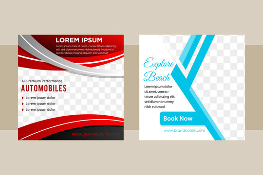 Set of Square banner templtes with curve red grey and abstract geometric blue colors for element designs. Space for a photo. Example social media post for Automotive and holiday concept