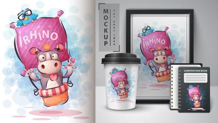 Travel rhino poster and merchandising