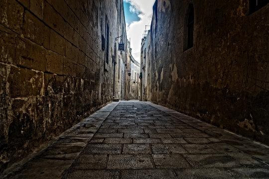 Old Narrow Roads in Mdina, Malta
