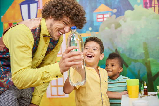 31.07.2017 - Kyiv, Ukraine. Kids Birthday party celebration. Science show for children. Concept of little explorers.