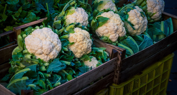 fresh organic cauliflower at a market