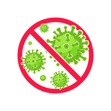 Virus Stop Symbol. Virus protection. Antibacterial and antiviral defence. Vector illustration.