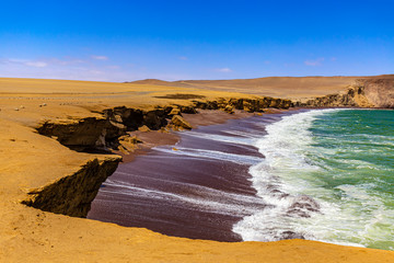 Peru, Ica Department. Paracas National Reserve. Red Beach