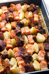 skewers with liver onion and pork side