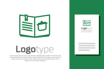 Green line Cookbook icon isolated on white background. Cooking book icon. Recipe book. Fork and knife icons. Cutlery symbol. Logo design template element. Vector Illustration