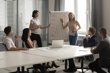 Female couch make presentation on flipchart in office