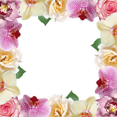 Fototapete - Beautiful floral pattern of roses and orchids. Isolated