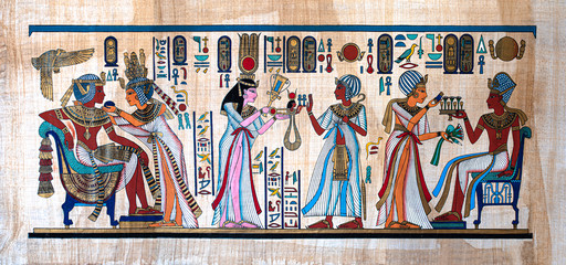 Ancient Egyptian painting on papyrus