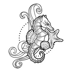 Black and white image of a seahorse with a shell, starfish and wave. Vector