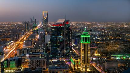 Top view of the city of Riyadh, Saudi Arabia, at night