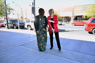 Democratic U.S. presidential candidate Senator Elizabeth Warren greets actor Yvette Nicole Brown before speaking at a campaign event in Las Vegas