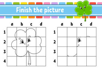 Finish the picture. Clover shamrock. Coloring book pages for kids. Education developing worksheet. Game for children. Handwriting practice. Cartoon character. Vector illustration.