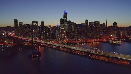 Fototapete - San Francisco downtown buildings skyline aerial evening sunset night
