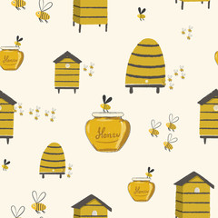 Bee Hive Honey Illustrations Repeat Seamless Pattern