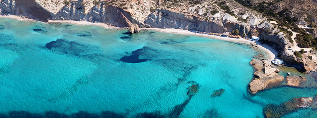 Aerial drone ultra wide photo of famous volcanic beach of Firiplaka in island of Milos, Cyclades, Greece Fototapete