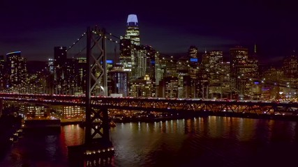 Poster - San Francisco downtown buildings skyline aerial evening sunset night