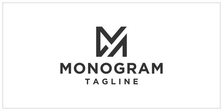 ma or am monogram logo design template