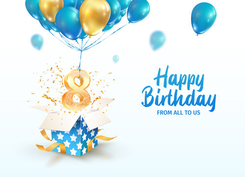 Celebrating of 8 th years birthday vector 3d illustration. Eighth anniversary celebration. Open gift box with explosions confetti and number eight flying on balloons on light background