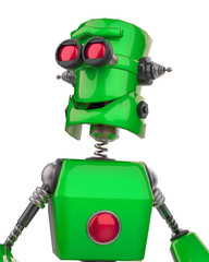funny robot cartoon smiling potrait in a white background