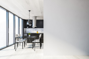 Black kitchen with table and mock up wall Papier Peint