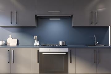 Blue kitchen with gray countertops Papier Peint