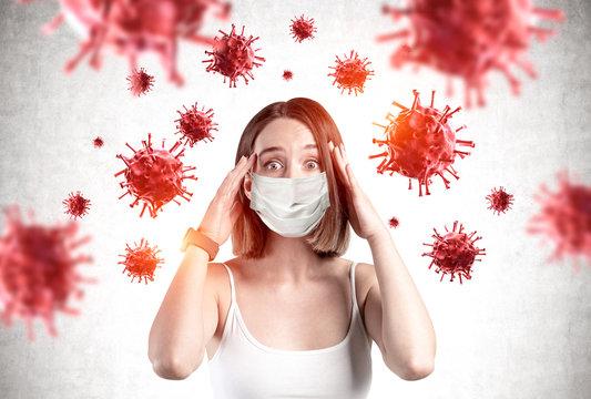 Scared young girl in mask, coronavirus panic