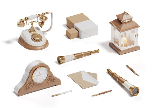vintage collection on a white background, 3D illustration
