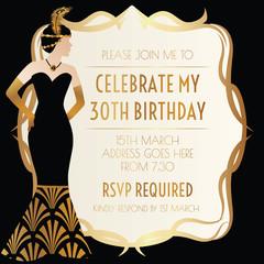 Gatsby Art Deco Invitation Design with Elegant Women in Dress