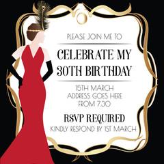 Gatsby Art Deco Invitation Design with Women in Red Dress