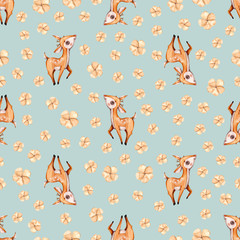 Watercolor cute nursery naive hand painted seamless pattern with deer forest woodland animal. Childish Handpainted print on mint background Watercolour Kids Art fabric wallpaper baby shower invit..
