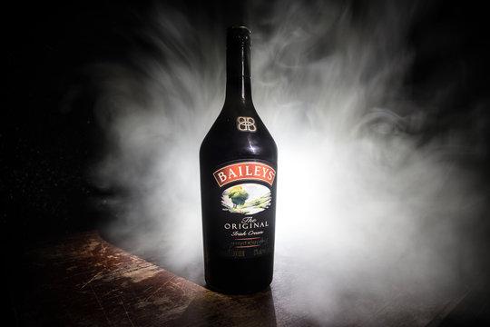 BAKU, AZERBAIJAN - FEB 09, 2020:, 2016: Baileys Irish Cream is an Irish whiskey- and cream-based liqueur, made by Gilbeys of Ireland. Brand currently owned by Diageo.