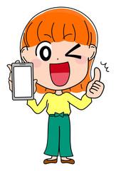 イラスト素材 かわいい 女性 表情 スマートフォン スマホ