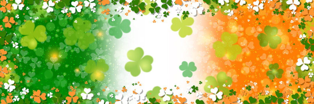 St.Patrick's Day colorful vector background with clover leaves