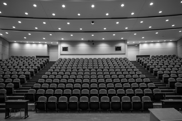 School Closure, Empty lecture hall, black and white Fotomurales