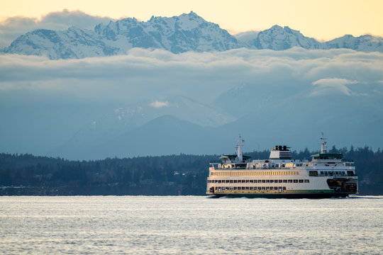 Washington State Ferry Traveling Across Puget Sound In Seattle