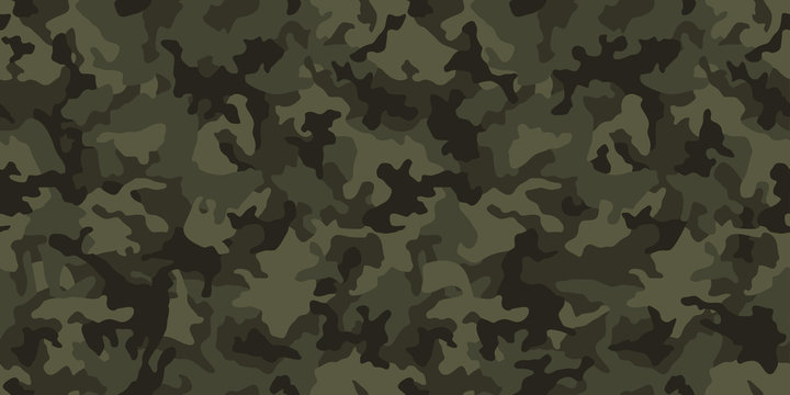 Camouflage pattern background, seamless vector illustration. Classic military clothing style. Masking camo repeat print. Dark green khaki texture.