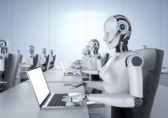 Female cyborgs in office