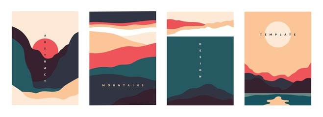 Landscape minimal poster. Abstract geometric banners with mountains lakes and waves. Vector illustration postcard travel and adventure flyers with curve nature shapes