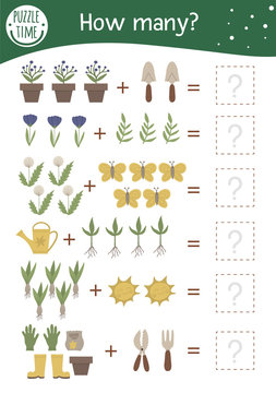 Math game with garden symbols. Spring mathematic activity for preschool children. Printable counting worksheet. Educational addition riddle with cute funny elements..