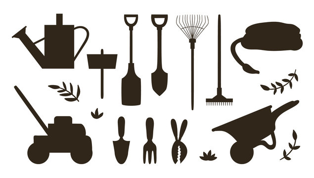 Vector set with silhouettes of garden tools, flowers, herbs, plants. Collection of black and white gardening equipment. Flat spring illustration .