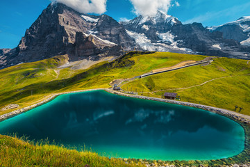 Wall Mural - Alpine lake and high mountains with glaciers, Bernese Oberland, Switzerland