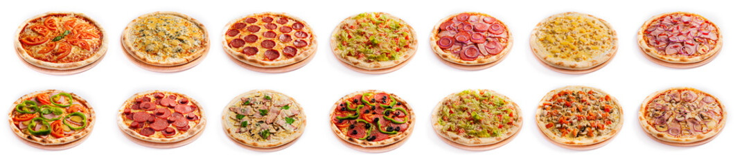 Set of pizza isolated, side view, on white background. Pizza photo for for menu card, web design, site, shop, advertising or delivery fast food.
