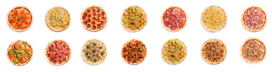 Set of pizza isolated, top view, on white background. Pizza photo for for menu card, web design, site, shop, advertising or delivery fast food.