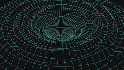 Wireframe 3D tunnel. Perspective grid background texture. Mesh wormhole model. Vector Illustration.