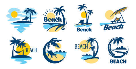 Set of vector icons for the beach