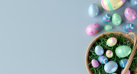 Easter composition on a color background - 3d rendering