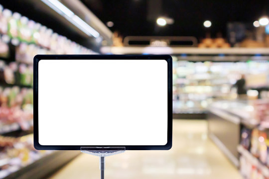 Mock up blank price board poster sign display with supermarket aisle abstract background