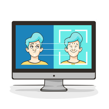 Modern technology artificial intelligence deepfake vector flat illustration. Biometric identification of cartoon male face at computer screen, facial detection AI scanning person isolated on white