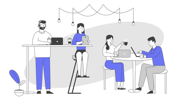 Male and Female Characters Sitting in Cafe Messaging Online in Social Networks, Chatting in Mobile Phone Using Wifi Internet, Drink Coffee. People Recreation Cartoon Flat Vector Illustration, Line Art